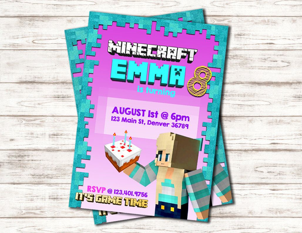 Custom Birthday Party Invitation- For a Minecraft Girl-Unique! by ...