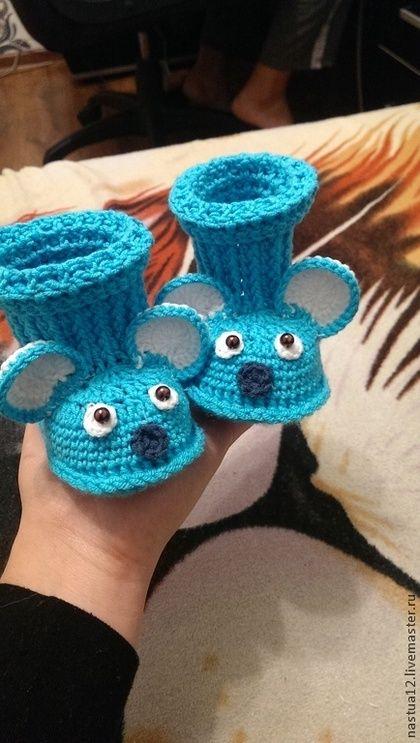 пинетки Мышки - пинетки для новорожденных,пинетки крючком,зверята,на заказ