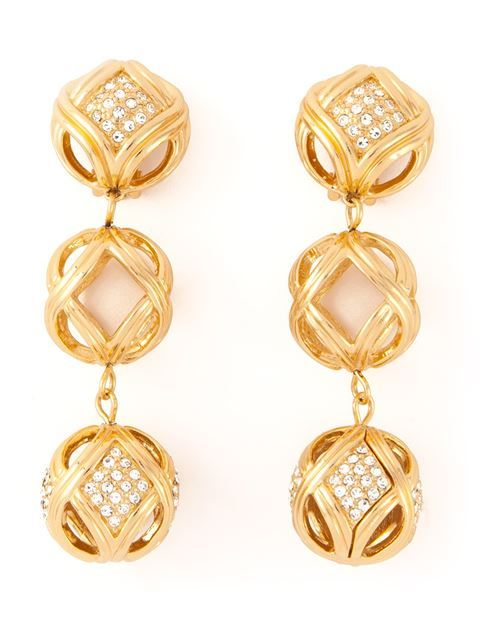 Christian Dior Vintage crystal ball earrings in Katheleys Vintage from the world's best independent boutiques at farfetch.com. Over 1000 designers from 300 boutiques in one website.