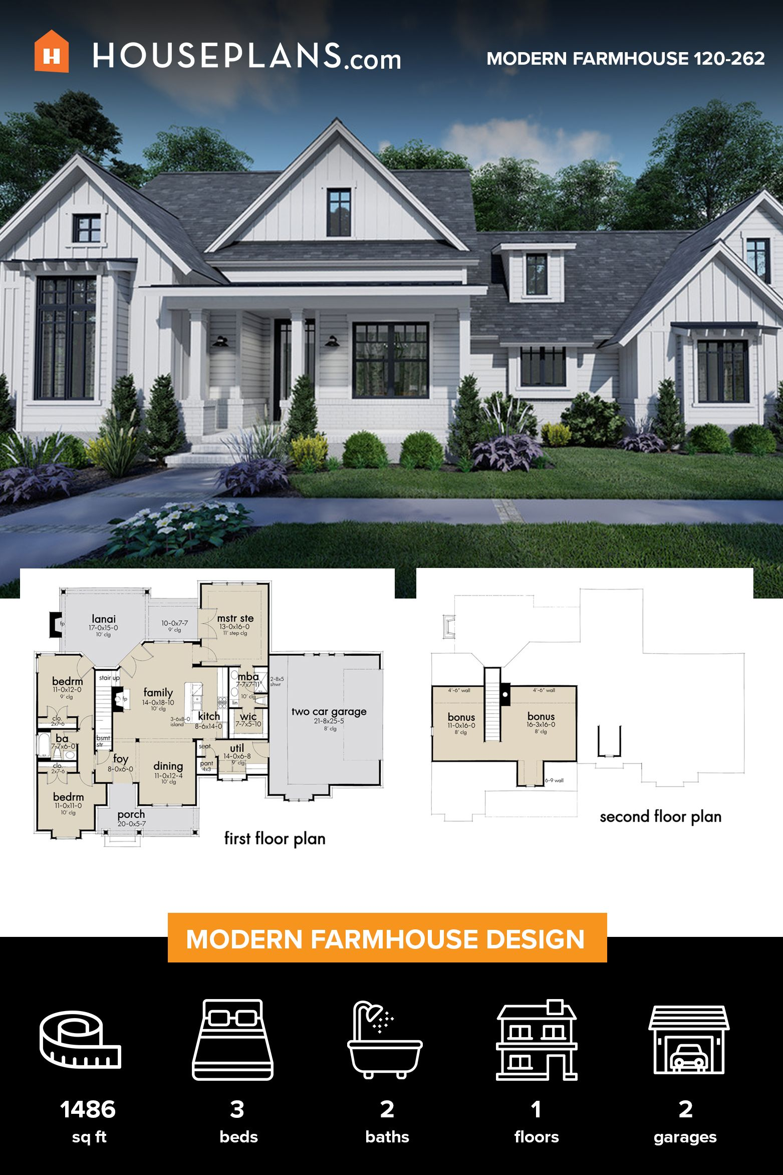 Farmhouse Style House Plan 3 Beds 2 Baths 1486 Sq Ft Plan 120 262 In 2020 Farmhouse Style House Plans Farmhouse Style House Modern Farmhouse Plans