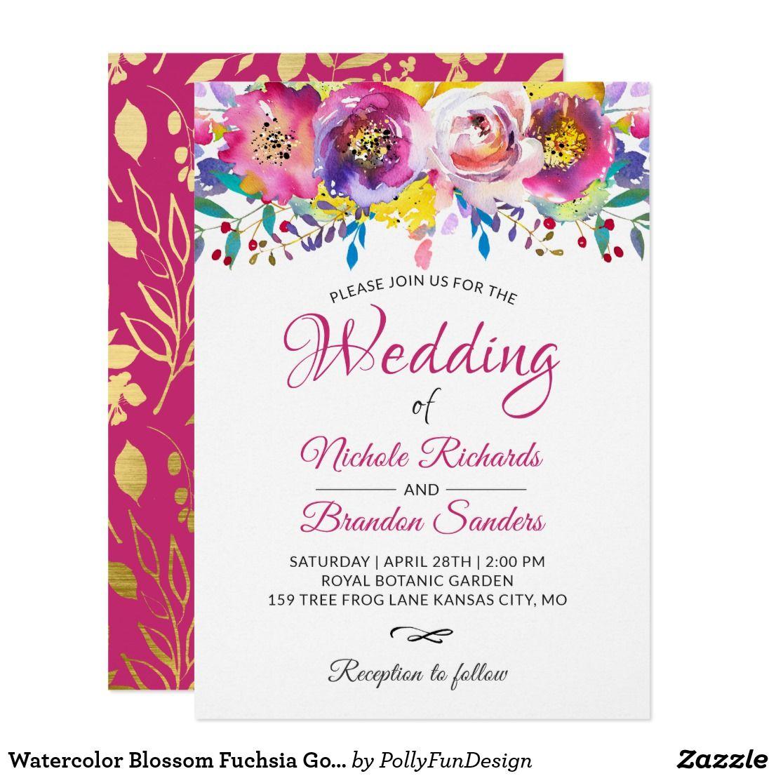Watercolor Blossom Fuchsia Gold Floral Wedding Card   Floral wedding ...