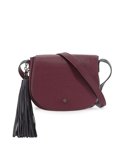 Faux-Leather Tassel Saddle Bag, Burgundy