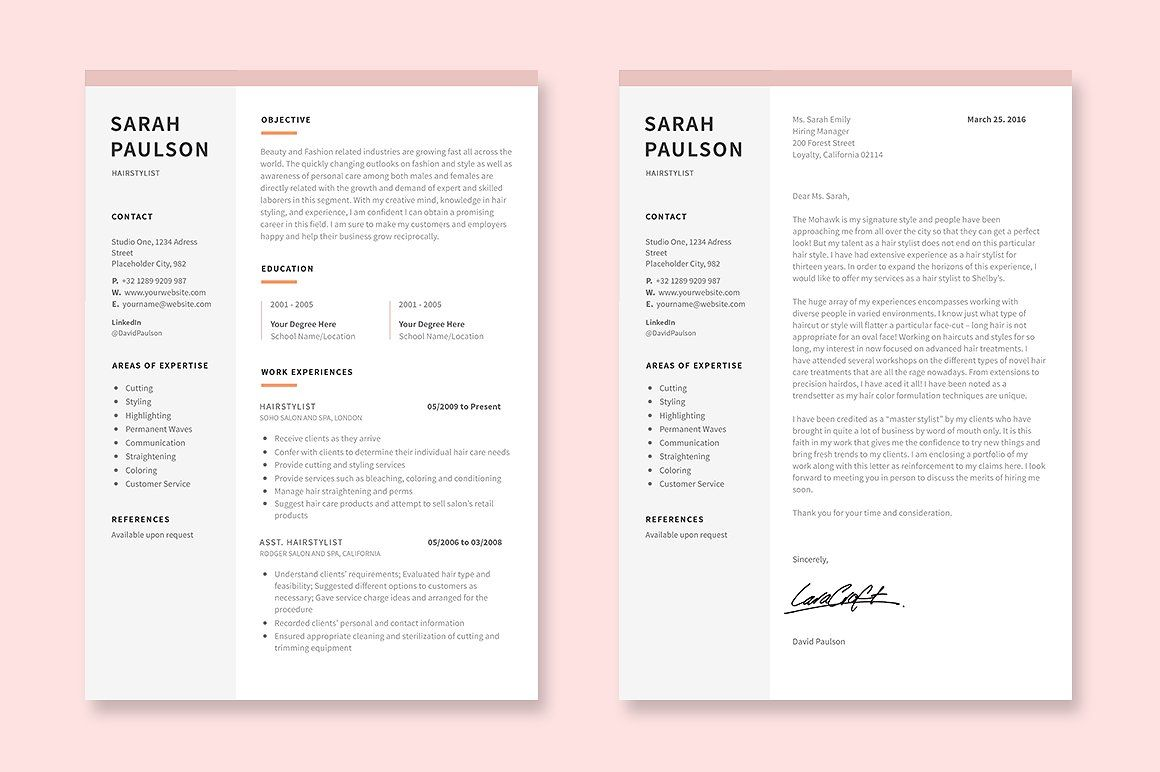 Hair Stylist Resume Template By Elissa Bernandes On Creativemarket Resume Template Cover Letter Template Resume Templates Creative hair stylist resume template