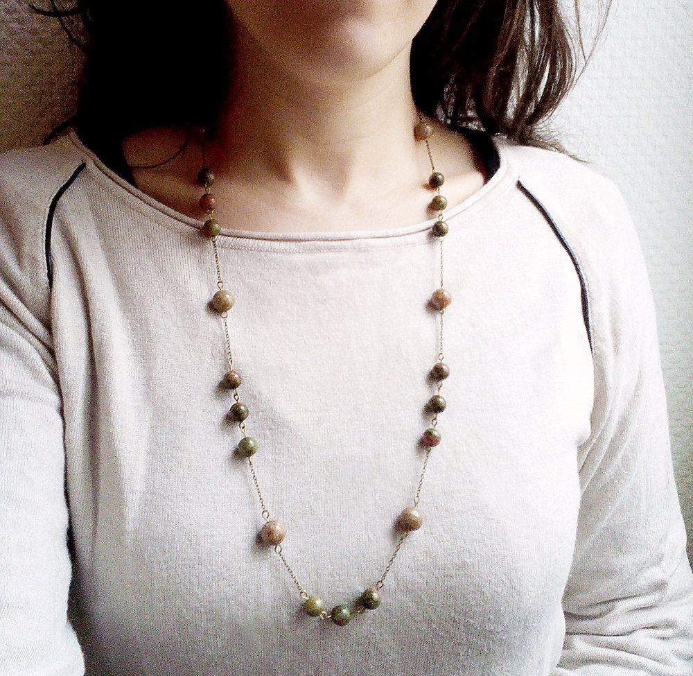 Long necklace, unakite and 'forest' jasper gemstones by MercysFancy on Etsy