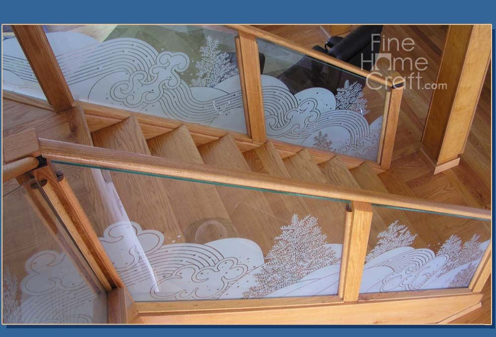 Best Staircase Glass Etched Banister Glass Staircase Home Crafts Staircase 400 x 300