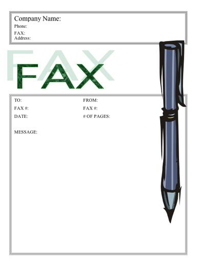 A large, blue pen accents this printable fax cover sheet Free to