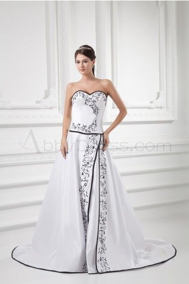 Satin, Sweetheart Neckline, Embroidered A-line Backless Wedding Gown with Chapel Train