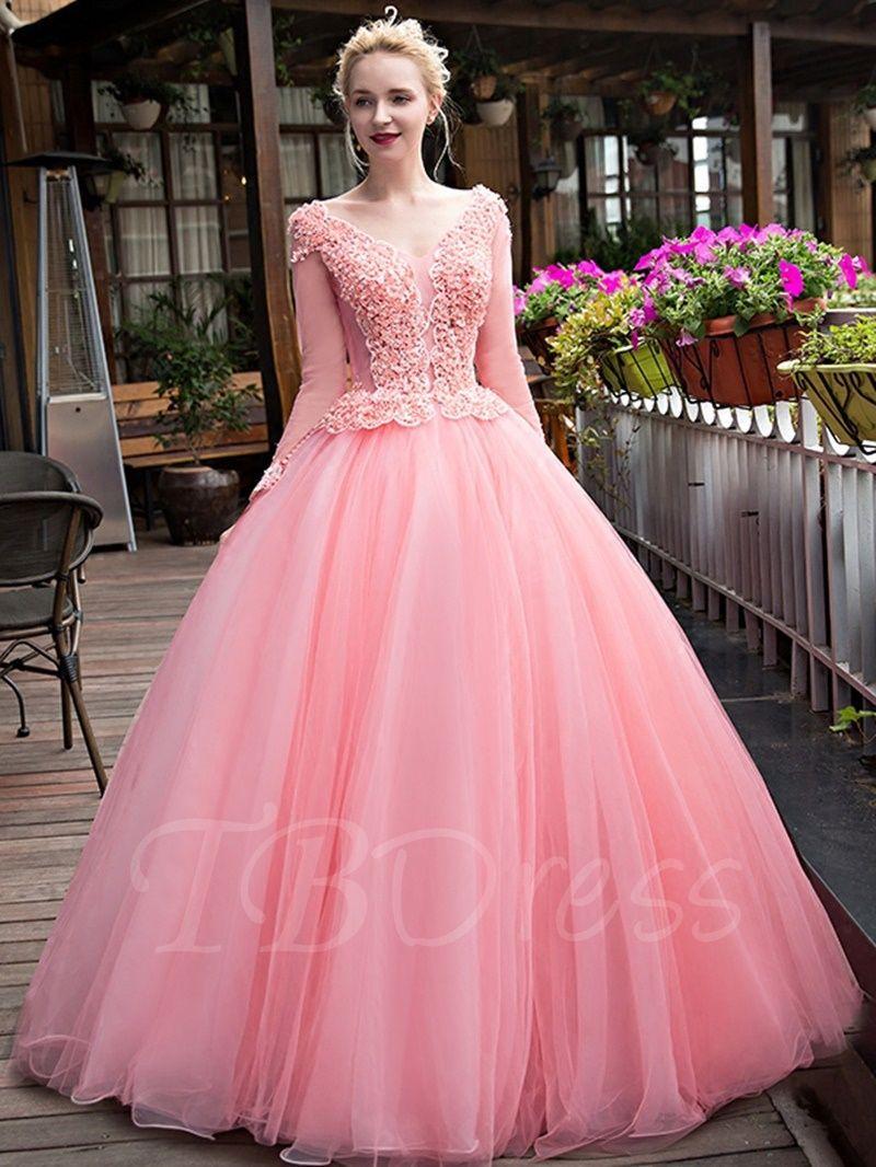 Bola de manga larga con cuello en v vestido de cristal-vestido ...