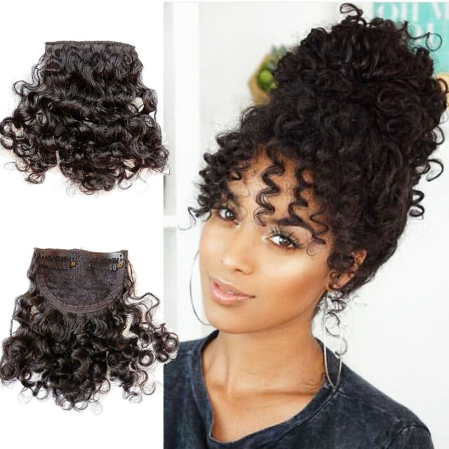 Clip In Curly Bangs 100 Natural Human Hair Clip On Curly Hairpiece Extensions In 2020 Natural Human Hair Curly Bangs Hair Pieces