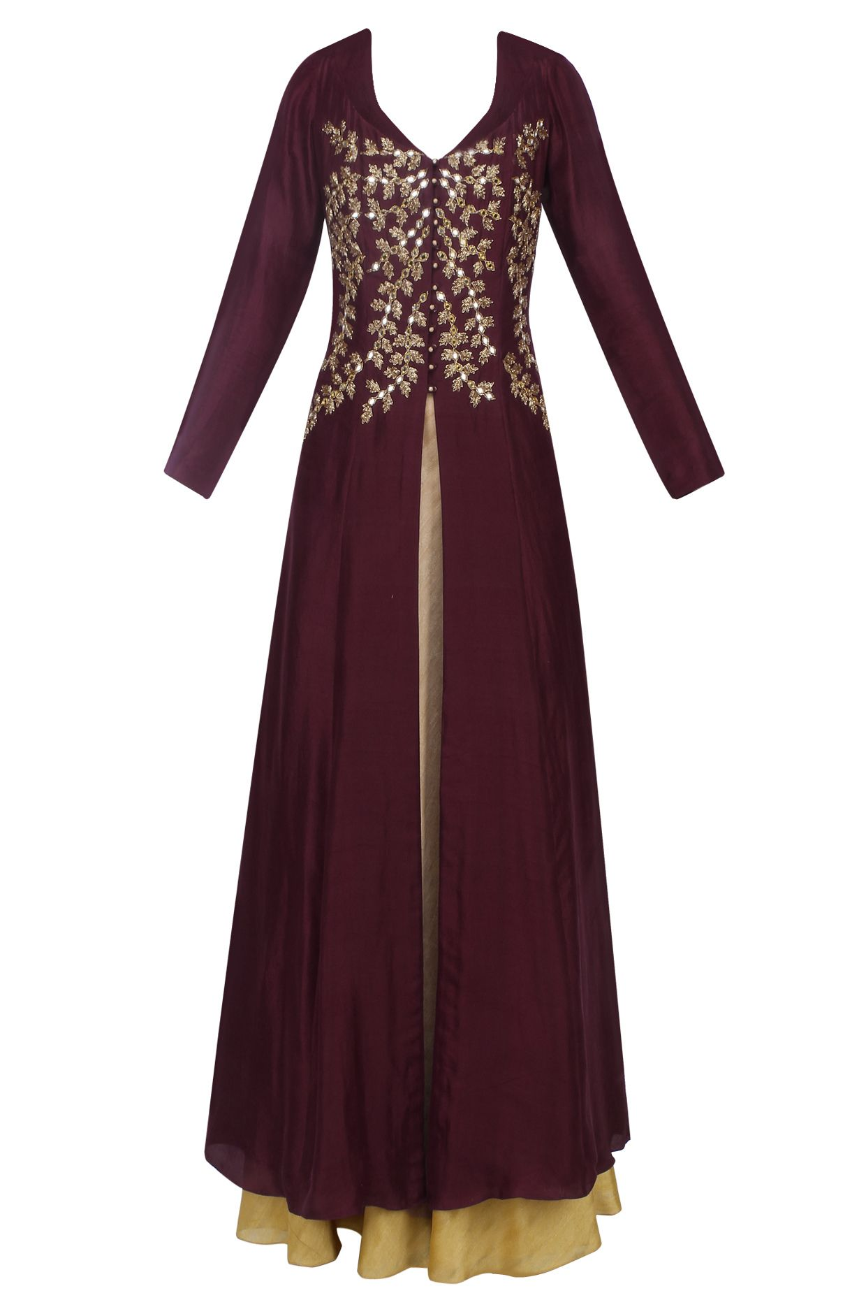 Dark plum mirror and cutdana work long jacket and gold skirt set