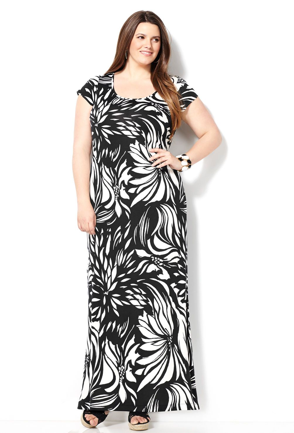 Black and white floral maxi dressplus size dressavenue fashion