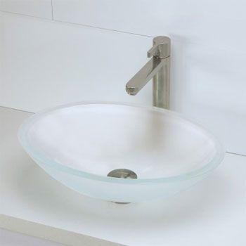 Superbe Decolav 1129T FCR Oval 19mm Glass Vessel Sink   Frosted Crystal