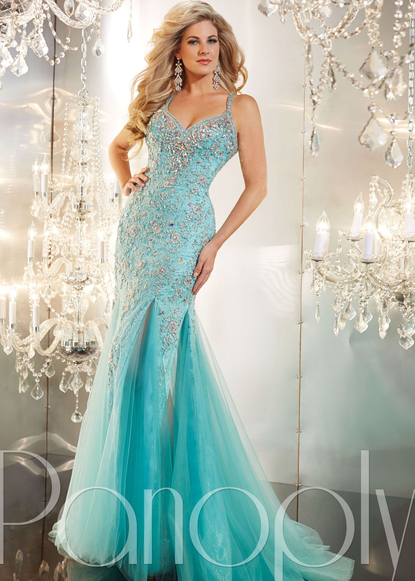 Free Shipping for 2014 prom dresses, Panoply 44228 blue lace ...