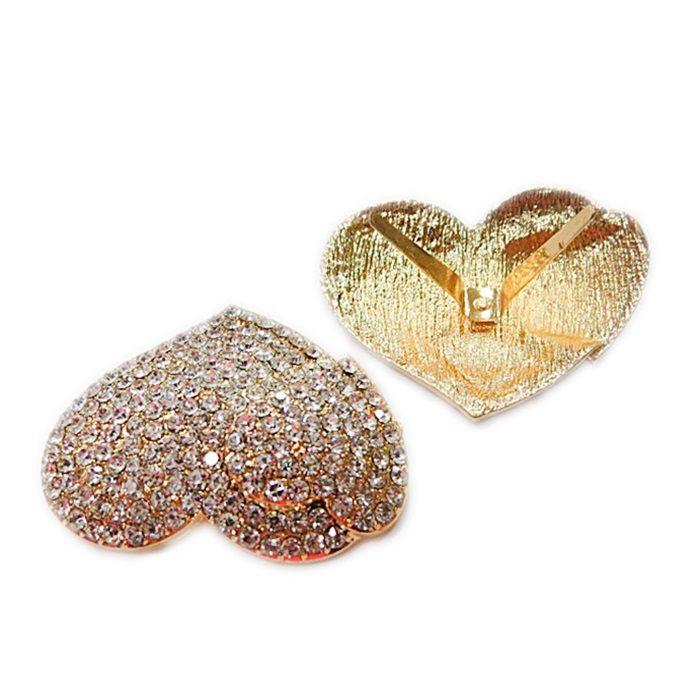 Entremeo de garra dourado 2 corações c/ strass- EG016 - PINK BIJOUX