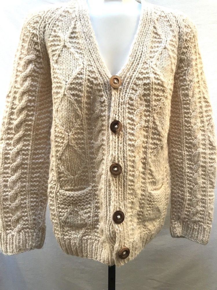 Vintage Greek Wool Fisherman Cardigan Women s M Sweater Aran Pockets Chunky  RARE  Hiatus  Cardigan fbe6cd012