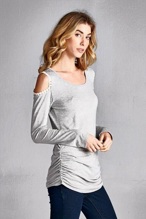 Heather grey, lightweight with rushing long sleeve top with shoulder cut detail. $33 ships free, S-M-L Purchase here: https://www.facebook.com/photo.php?fbid=10154066833668686&set=pcb.1083799745012634&type=3&theater