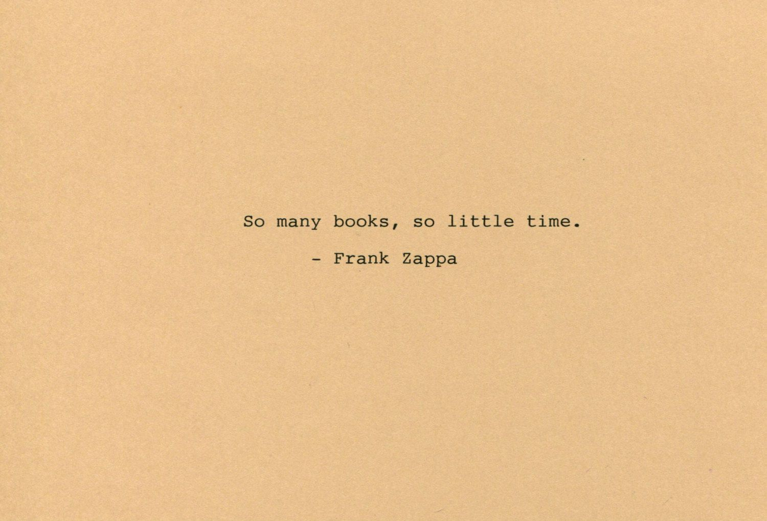 Frank Zappa Quote Made on Typewriter Art Quote Wall Art - So many ...