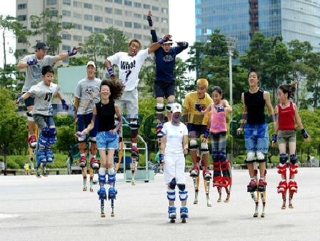 Don't lie.  You know this looks like fun.  Pogo-like stilts strapped to your feet. Hello?