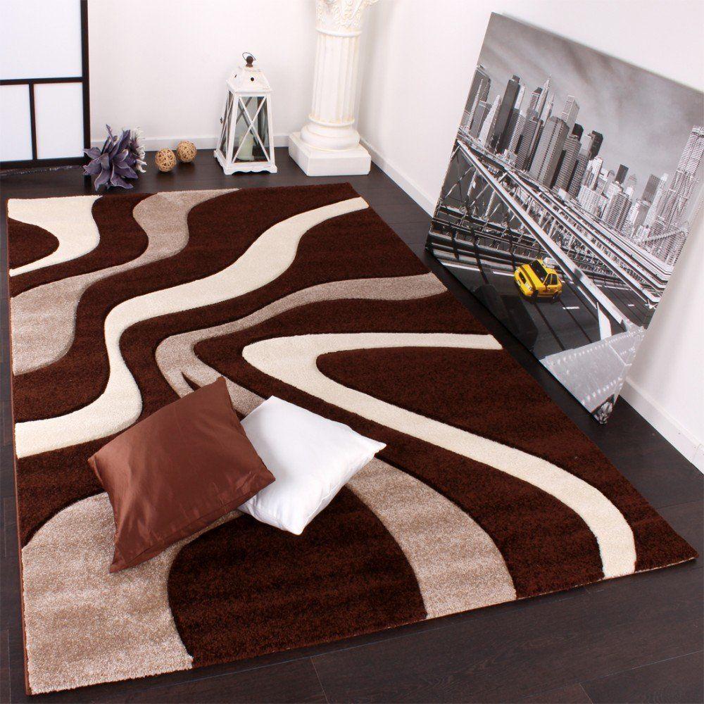 PHC Tappeto design con motivo a onde, colore Marrone
