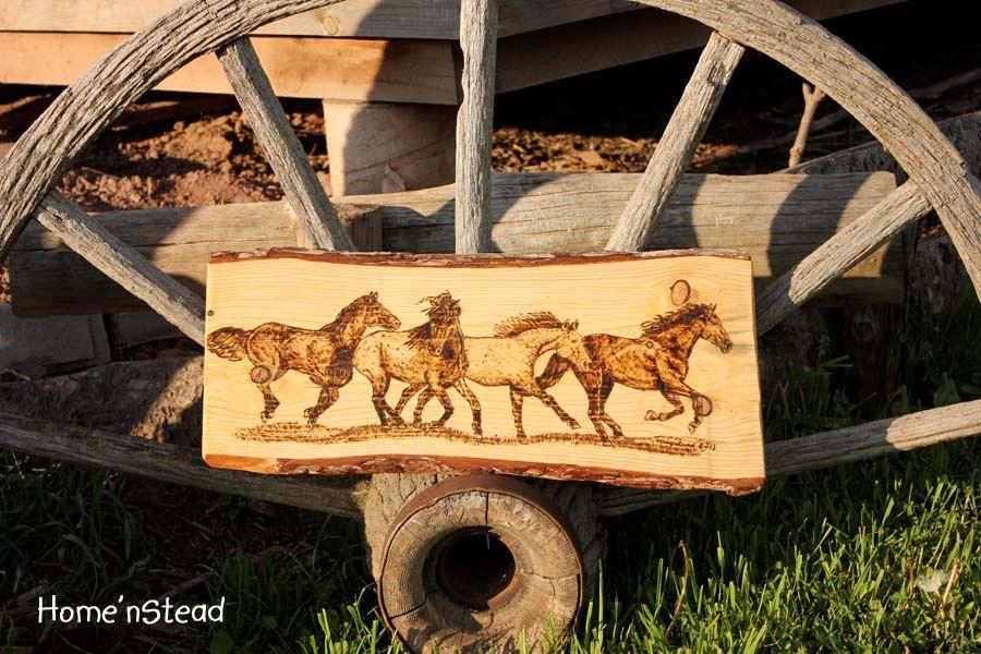Running Horses Wood Burning Art Galloping Horse Herd Wall Hanging ...