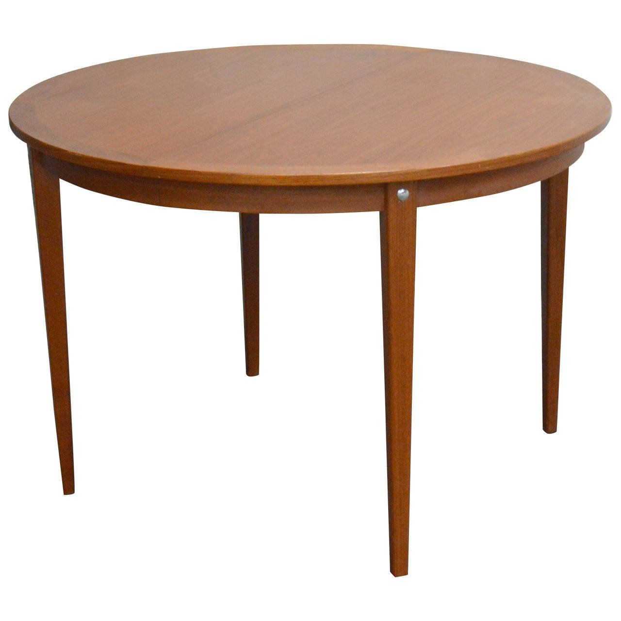 Mid Century Modern Round Swedish Teak Dining Table Round Dining