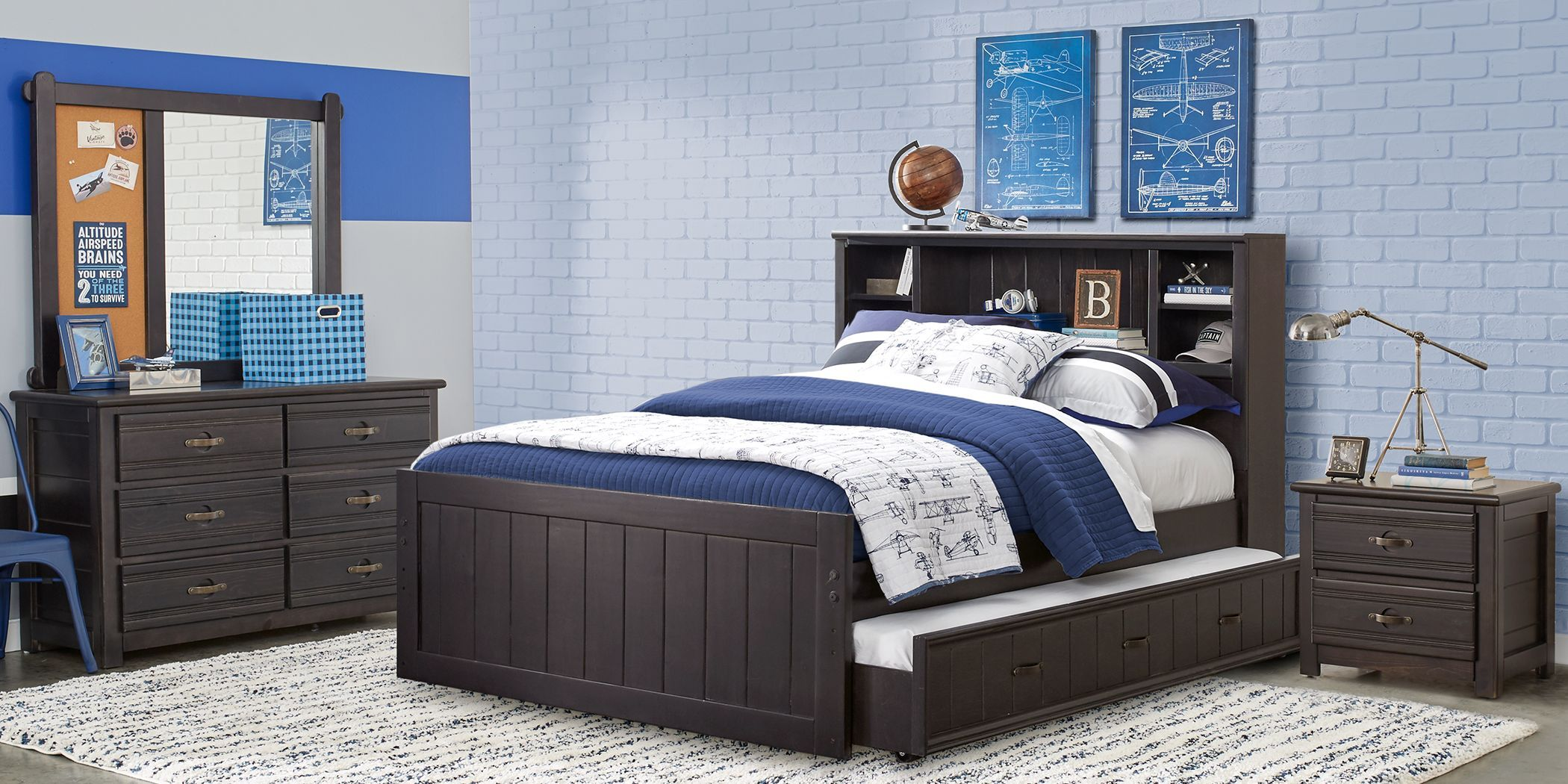 Best Kids Creekside Charcoal 6 Pc Full Bookcase Bedroom Full 400 x 300