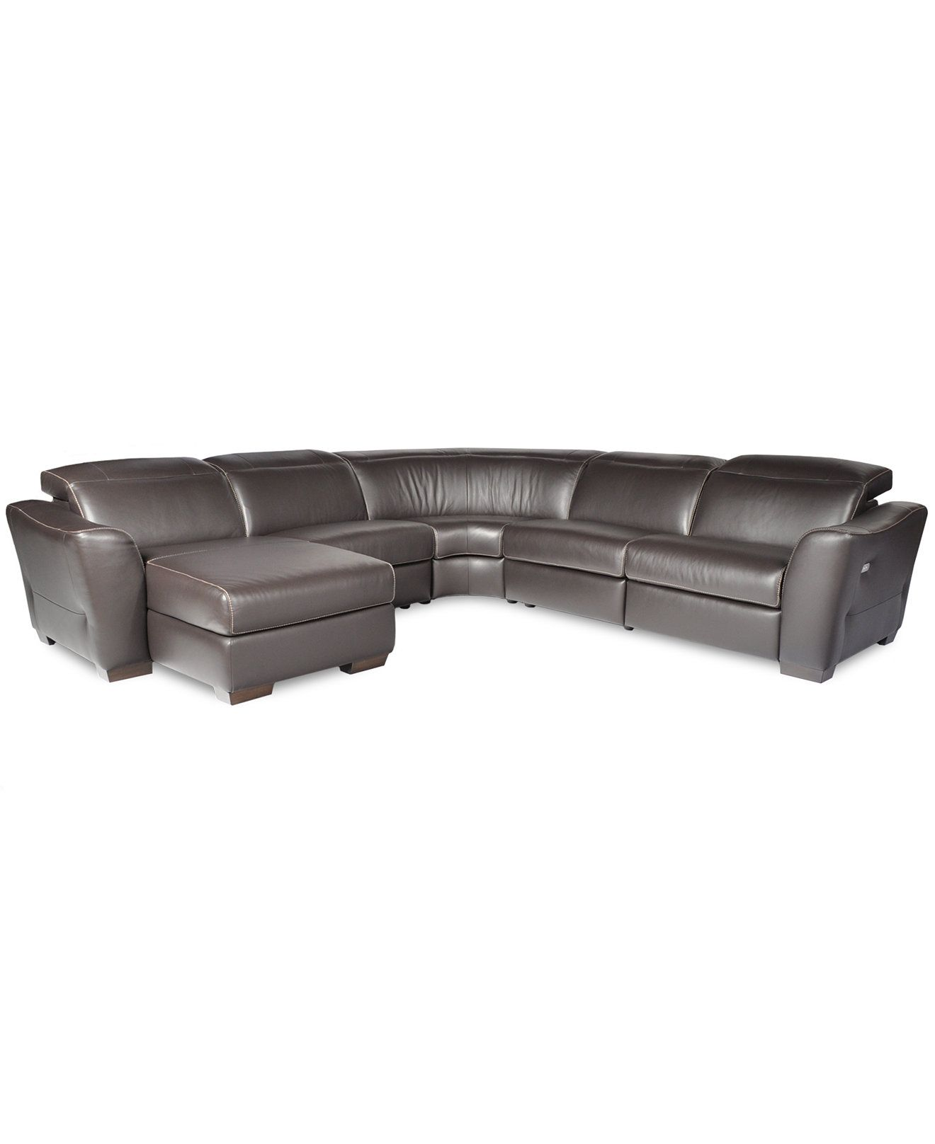 Alessandro 5 pc Leather Sectional Sofa with Chaise with 1 Power
