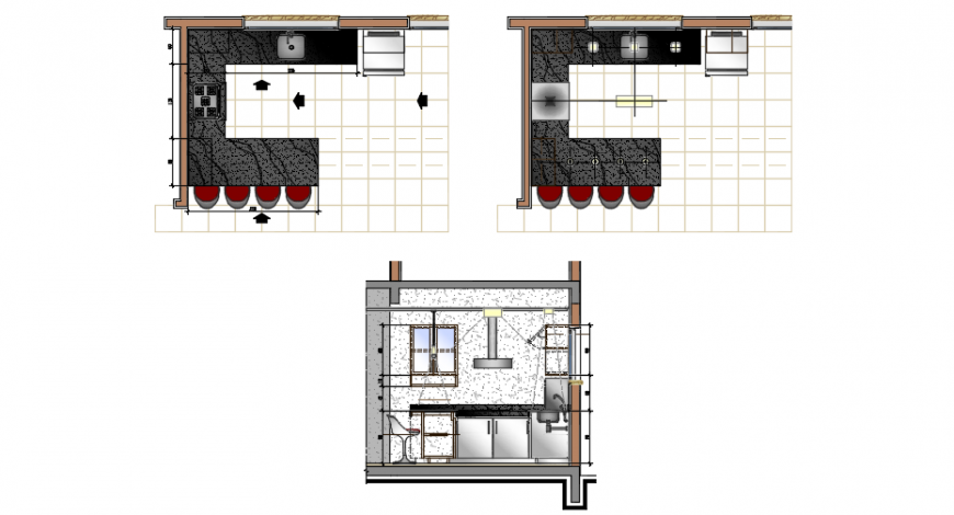 Kitchen Top View Plan And Sectional Elevation Detail Cadbull Cadbull Detail Elevation Kitchen Tops Simple Kitchen Design Kitchen Layout Plans