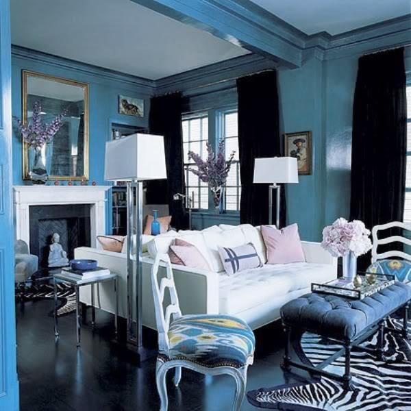 Light Blue Walls A Modern White Sofa And Zebra Rug Complete This Hollywood Regency Living Room Image Via Decor You Hr