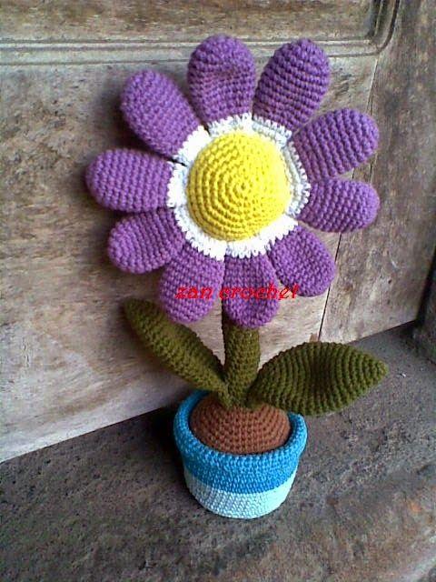 Flor en el pote ~ Zan ganchillo
