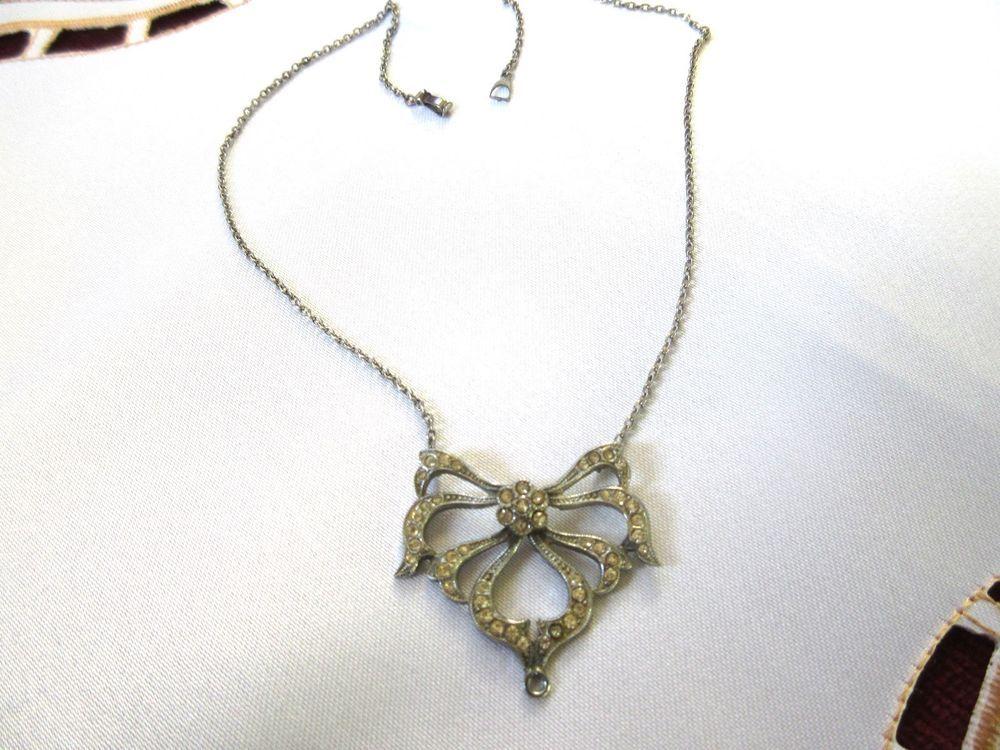 Vintage Paste Art Deco Necklace for Repair Silver?