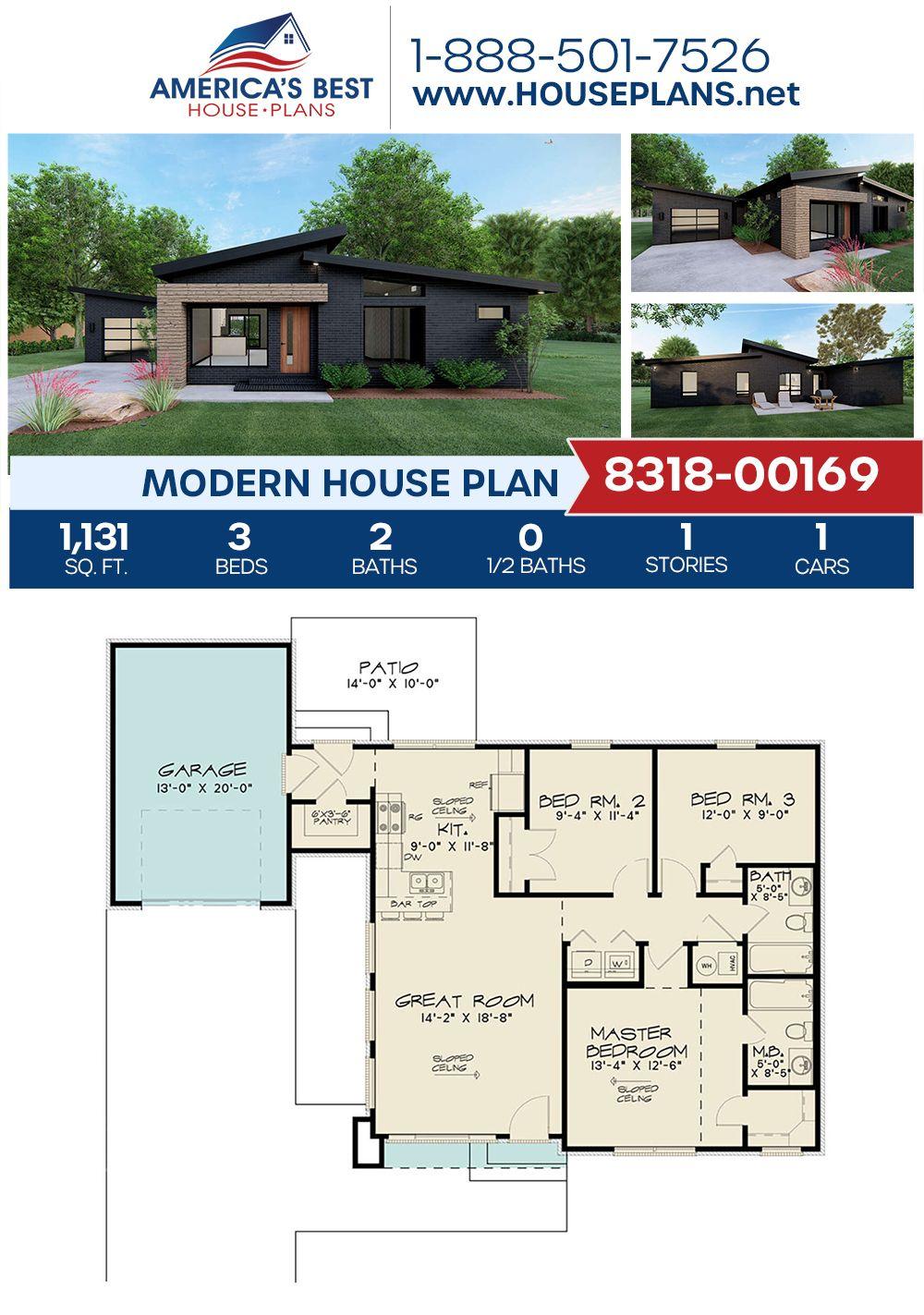 House Plan 8318 00169 Modern Plan 1 131 Square Feet 3 Bedrooms 2 Bathrooms Modern House Plans House Plans Modern House Plan