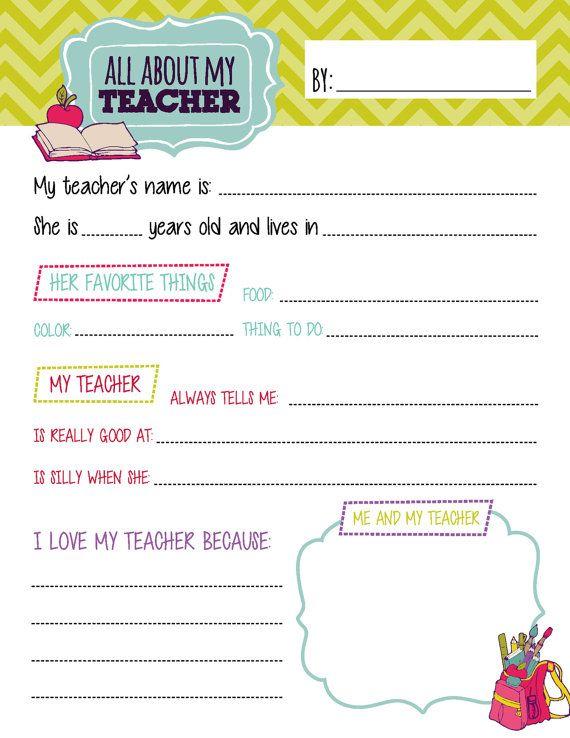 All About My Teacher Questionnaire Printables | Teacher Appreciation ...