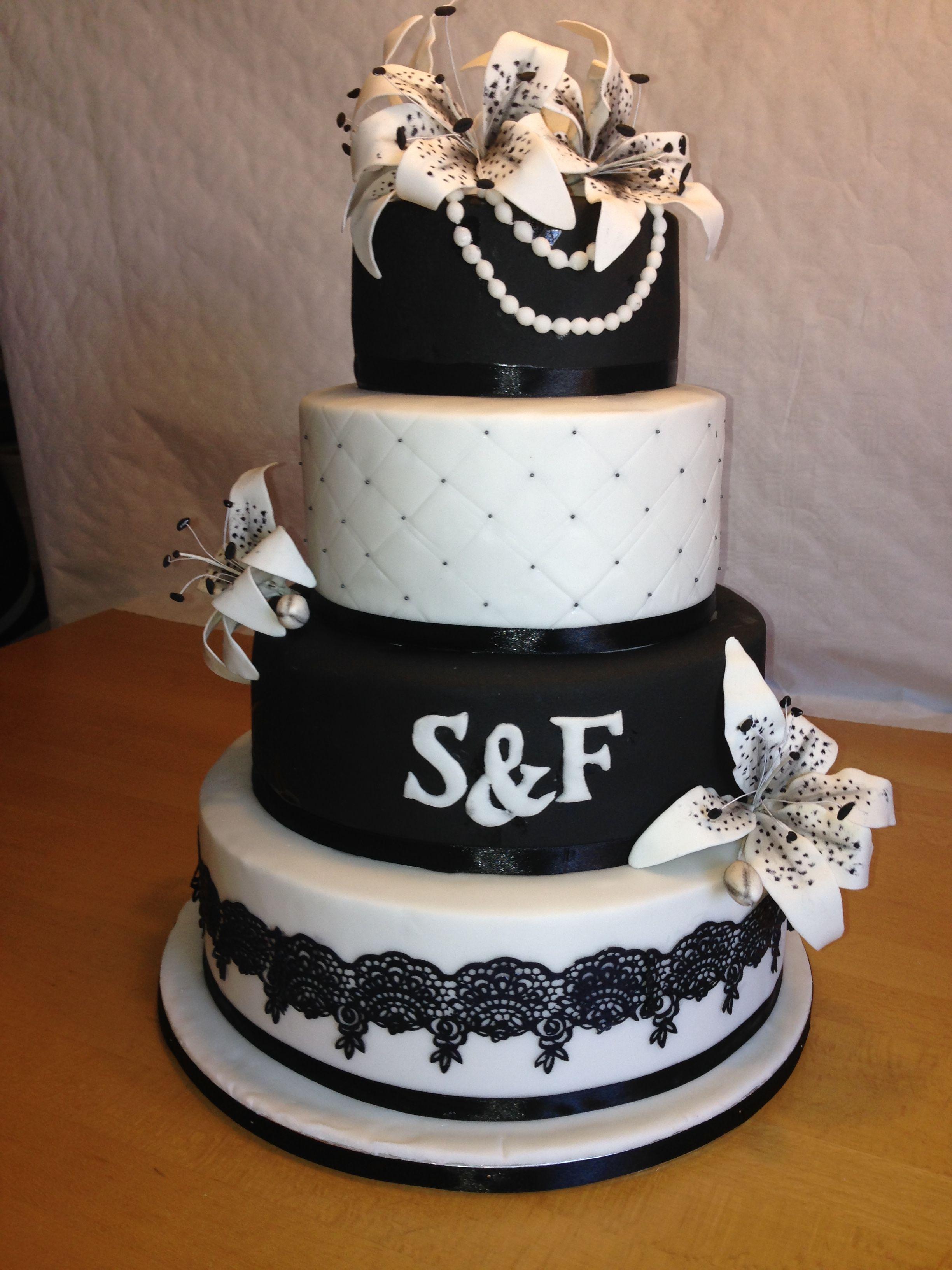 Wedding Cake Lily Black White Hochzeitstorte Lilien Schwarz Weiss