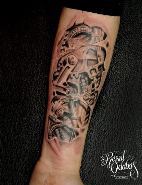 Arm Biomechanical Gear Tattoo by Resul Odabaş   Leg ...