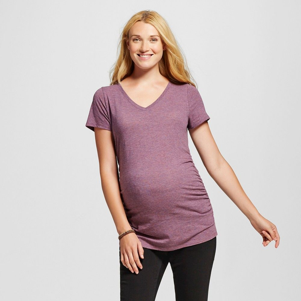 0e0aaef12c872 Maternity Short Sleeve V-Neck Tee - Purple Heather Xxl - Liz Lange for  Target