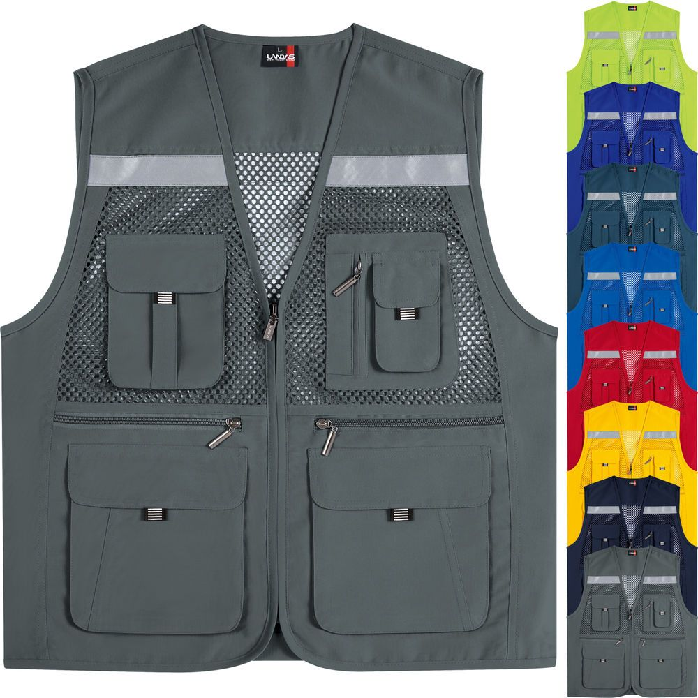 Details about Multi Pockets Mesh Vests Sleeveless Fishing
