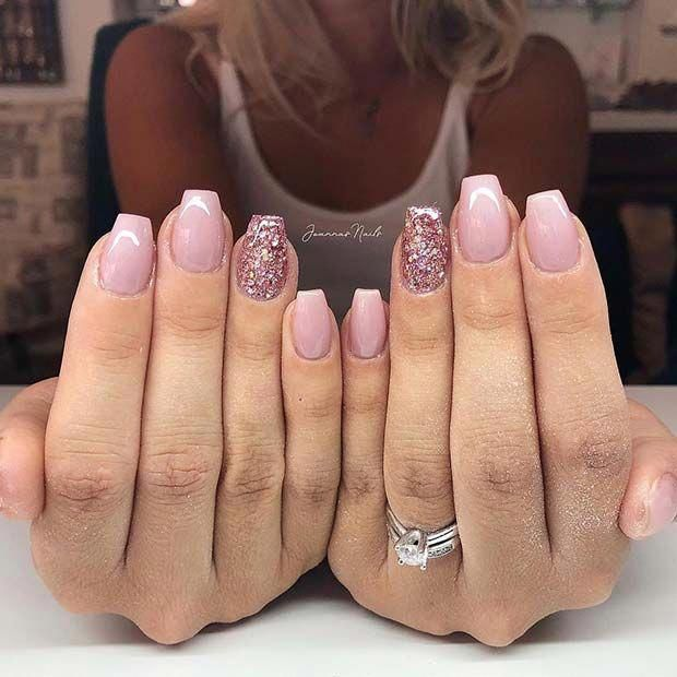 Light Pink And Glitter Short Ballerina Nails Nails Pink Acrylic