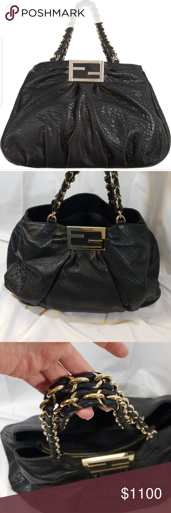 Fendi Mia Grande tote in black Napa leather Authentic 156411b58c25