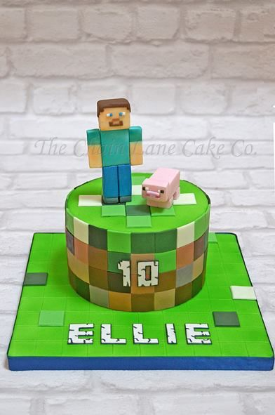 round minecraft cake minecraft cakes in 2018 pinterest kuchen geburtstagskuchen und torten. Black Bedroom Furniture Sets. Home Design Ideas
