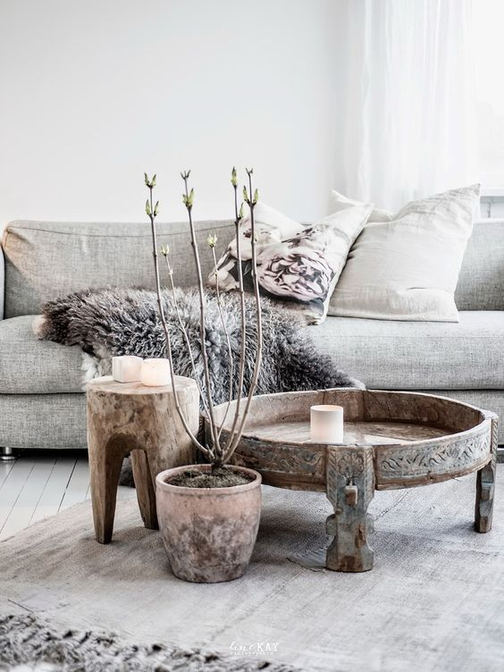 Woonkamer in aardetinten | Scandinavian living, Scandinavian living ...