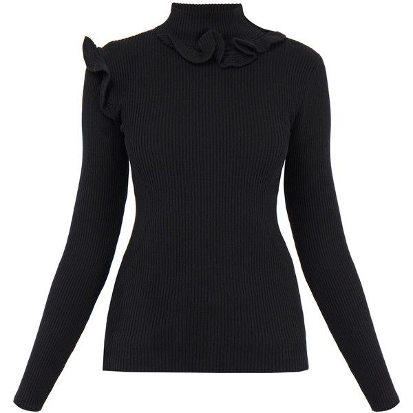 Raoul Black Ruffled Turtleneck Cashmere Sweater ($61) ❤ liked on ...