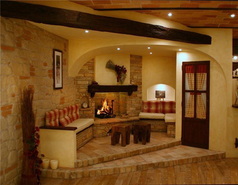 Camini rustici, lavorazione artigianale con pietre, mattoni e legno  Caminetti rustici ...