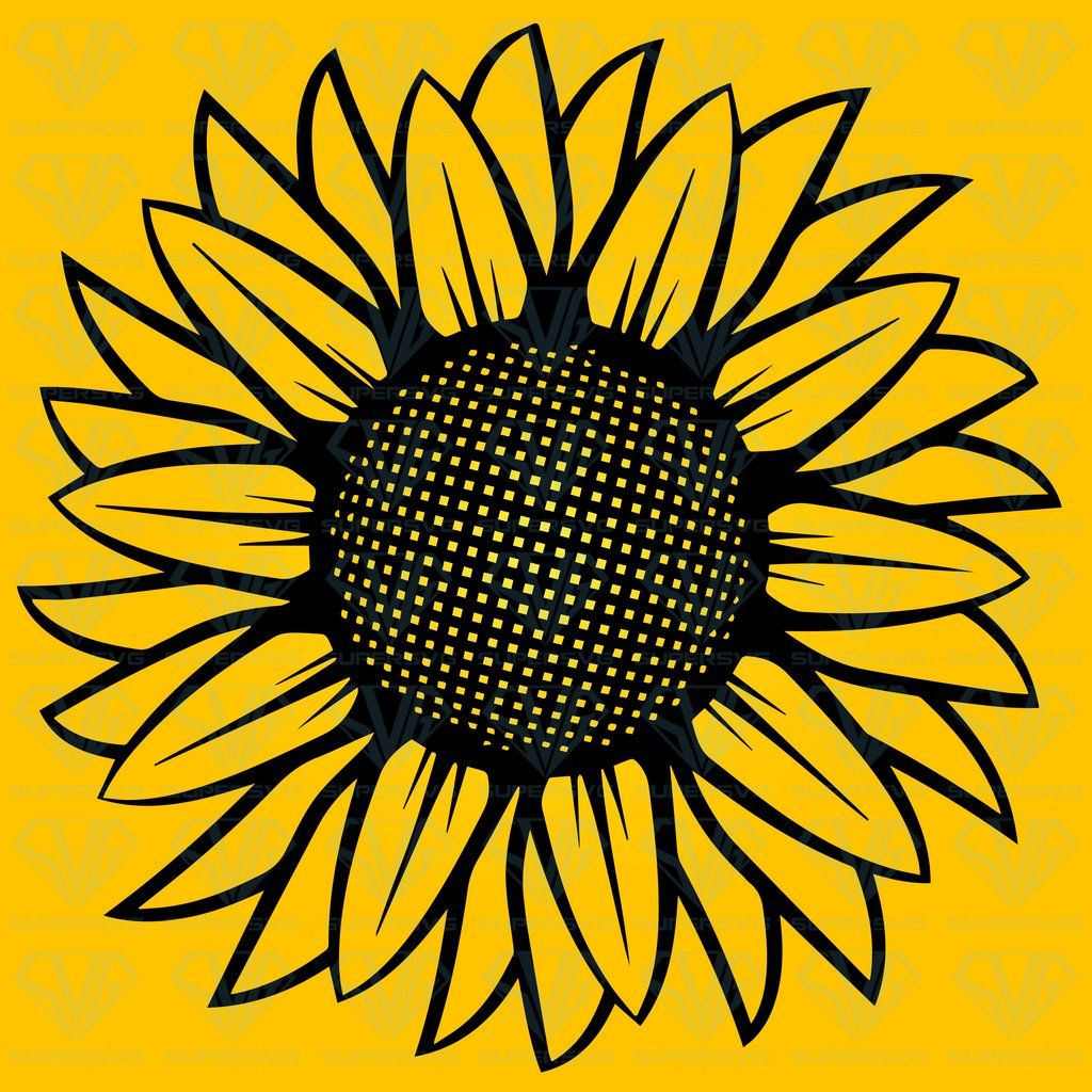 Sunflower Illustration Black White SVG Files For