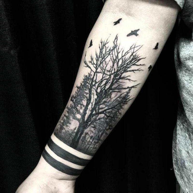 Wald Tattoo: symbolische Bedeutung + attraktive