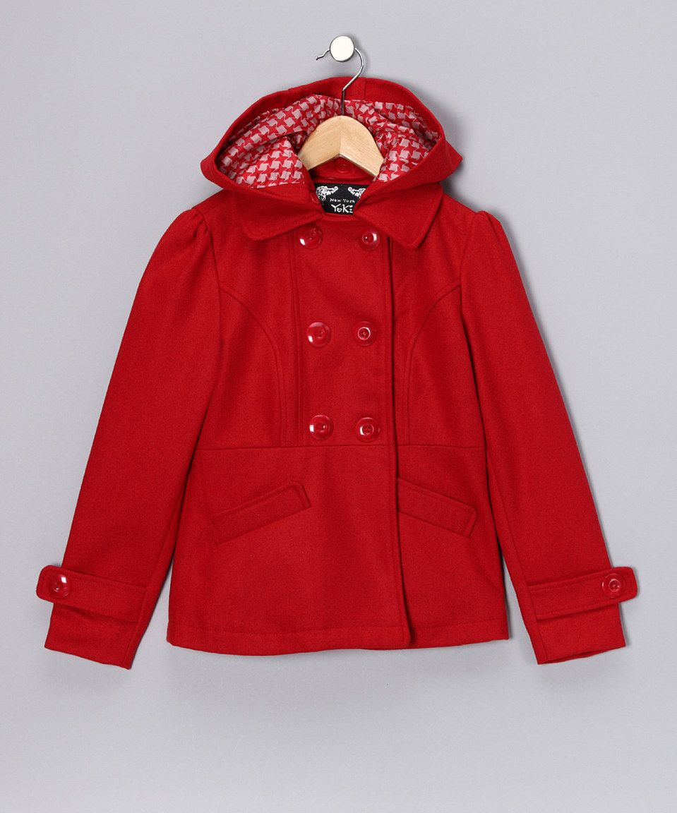 This Yoki Red Double-Breasted Peacoat - Girls by Yoki is perfect! #zulilyfinds
