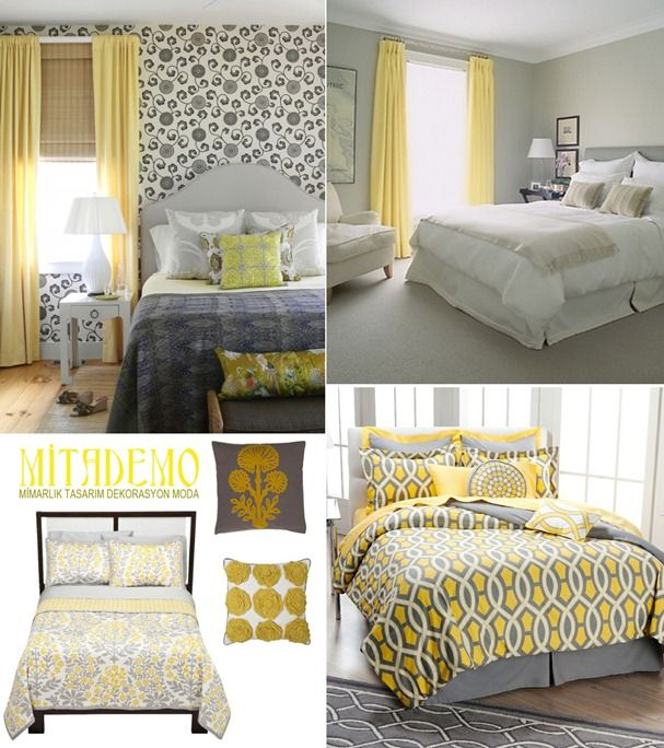 Yellow Grey See Notice The Effect Of Yellow Curtains On Gray White Room Grey Bedroom Decor Yellow Bedroom Decor