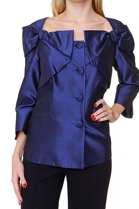 f19cf6a442 Luisa Spagnoli Silk Blazer VEGGENTE, Color: Dark blue, Size: 44 ...