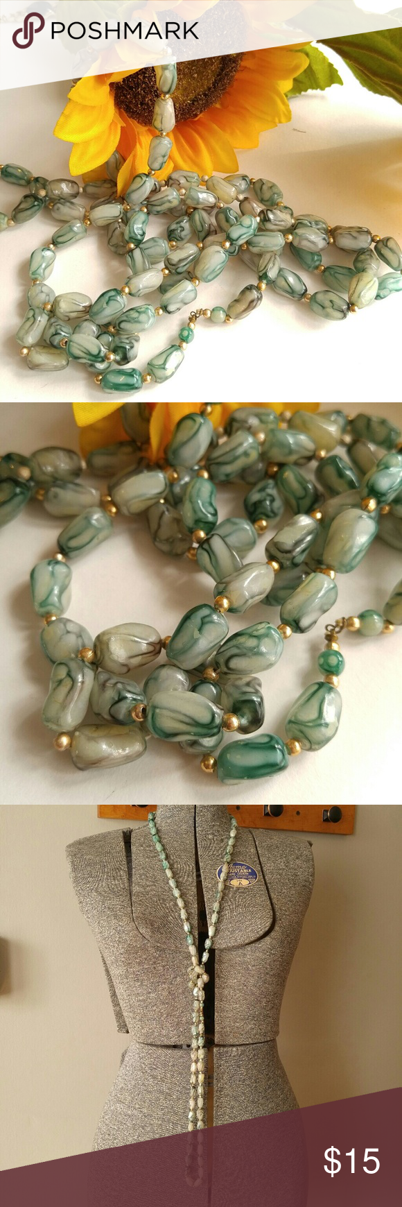 Vintage long green swirl bead necklace flapper Pretty vintage flapper length necklace made of swirled green plastic beads - in great shape and from a smoke free home -Offers welcome:)   8838bead5fes Vintage Jewelry Necklaces