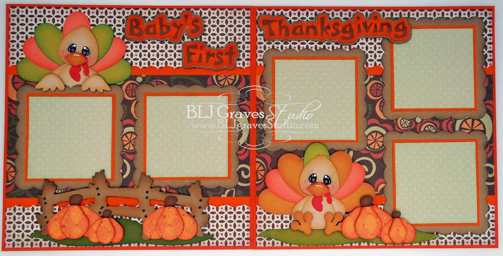 Baby's First Thanksgiving Double Page Layout
